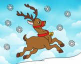 Coloring page Christmas reindeer painted bylorna