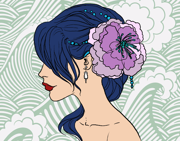 Coloring page Flower wedding hairstyle painted bySamantha