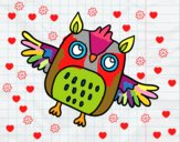 Coloring page Flying Halloween owl painted bylillie