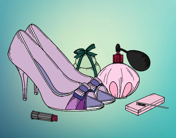 Coloring page Shoes and makeup painted bySamantha