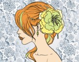 Coloring page Flower wedding hairstyle painted byfawnamama1