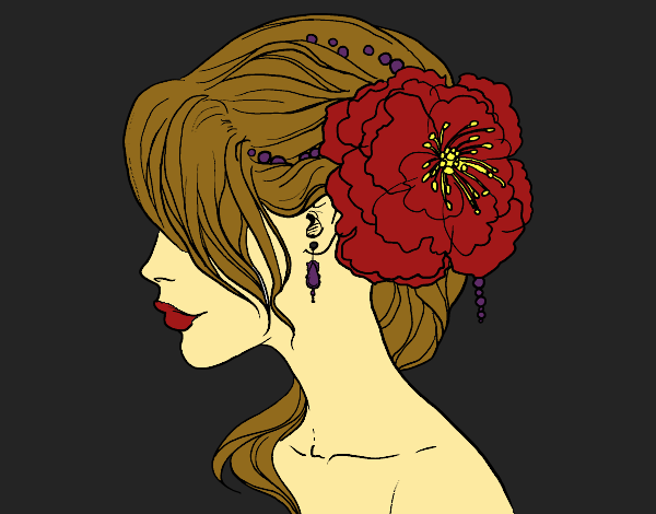Coloring page Flower wedding hairstyle painted byBella0
