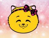 Happy cat girl face