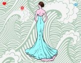 Coloring page Wedding dress with tail painted byHopeGilber