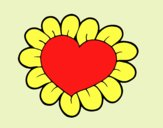 Coloring page Flower heart painted bylorna