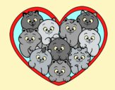 Coloring page Heart of kittens painted bylorna