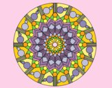 Coloring page Mandala flower with circles painted bylorna