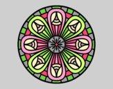 Coloring page Mandala pencils painted bylorna