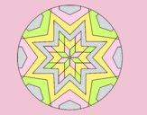 Coloring page Mandala star mosaic painted bylorna