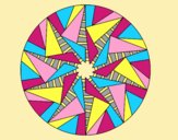 Coloring page Mandala triangular sun painted bylorna
