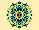 Coloring page Symmetric mandala painted bylorna