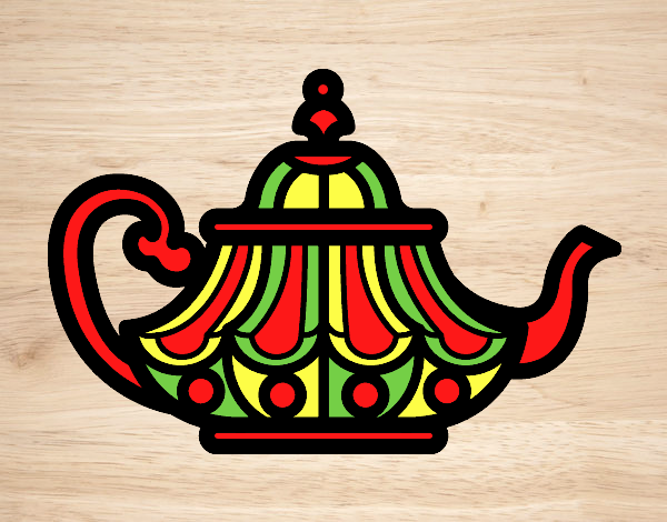 Coloring page Arabic Teapot painted bylorna