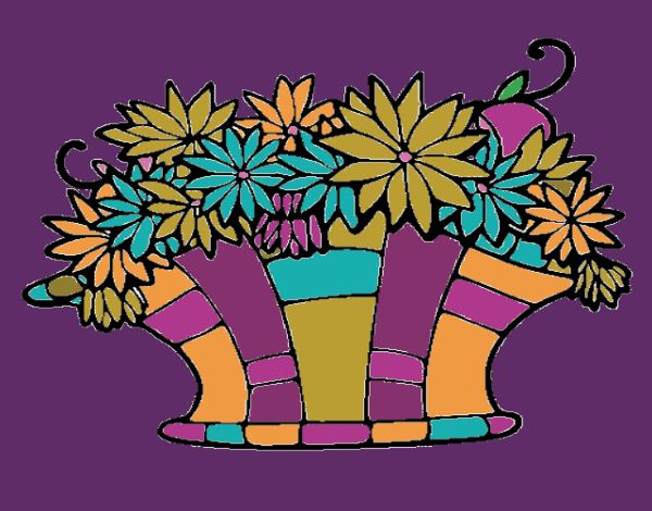 Coloring page Basket of flowers 7 painted byNita
