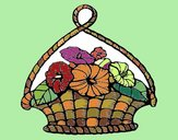 Coloring page Basket of flowers painted byNita