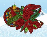Coloring page Christmas ball with decoration painted byNita