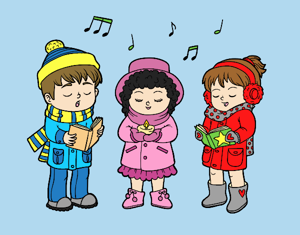 Coloring page Christmas singers painted bylorna