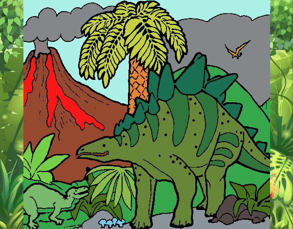 Coloring page Family of Tuojiangosaurus painted byPiaaa