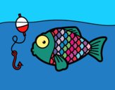 Coloring page Fish about to take the fish hook painted byPiaaa