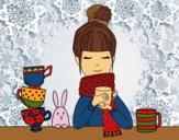 Coloring page Girl with scarf and cup of tea painted byPrincess13