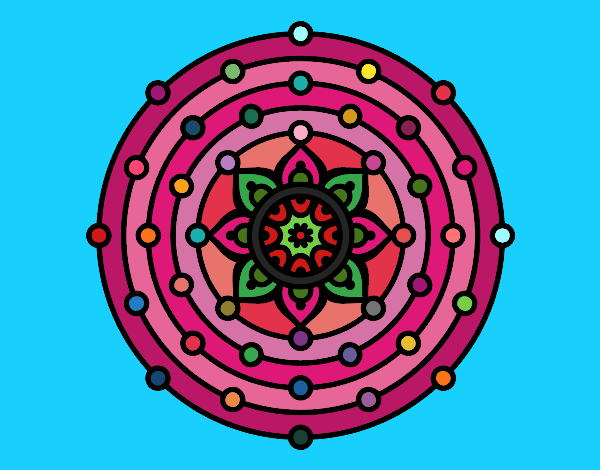 Coloring page Mandala solar system painted byPiaaa