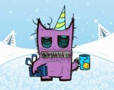 Coloring page Monster birthday gifts painted byPatricia