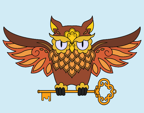 Owl with key tattoo