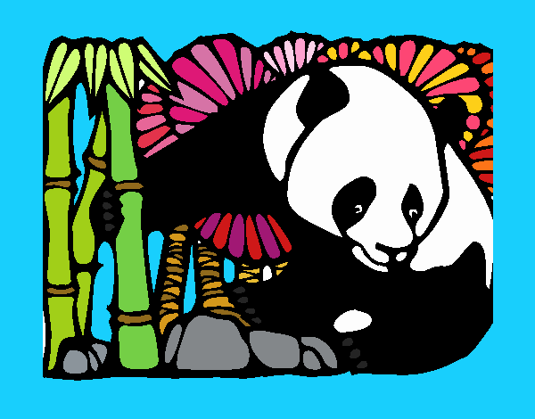 Coloring page Panda and bamboo painted byPiaaa