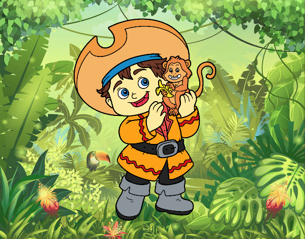 Pirate boy and his monkey pet