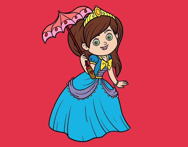Coloring page Princess with sunshade painted byPiaaa