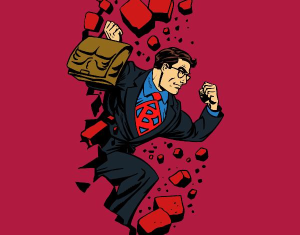 Superhero breaking a wall