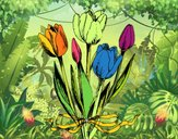 Coloring page Tulips with a bow painted byNita
