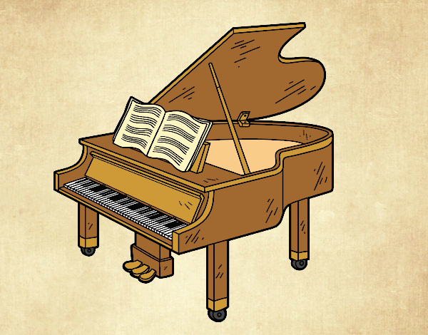 Coloring page A grand piano open painted bylorna