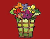 Coloring page Basket of flowers 3 painted byNita