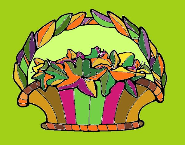 Coloring page Basket of flowers 4 painted byNita