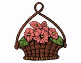 Coloring page Basket of flowers painted bySkye