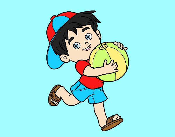 Coloring page Child playing with beach ball painted bylorna