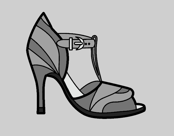 Coloring page High heel shoe with uncovered tip painted bylorna