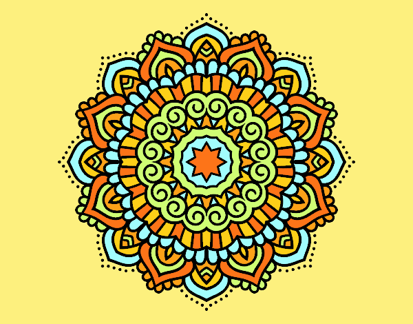 Coloring page Mandala decorated star painted bylorna