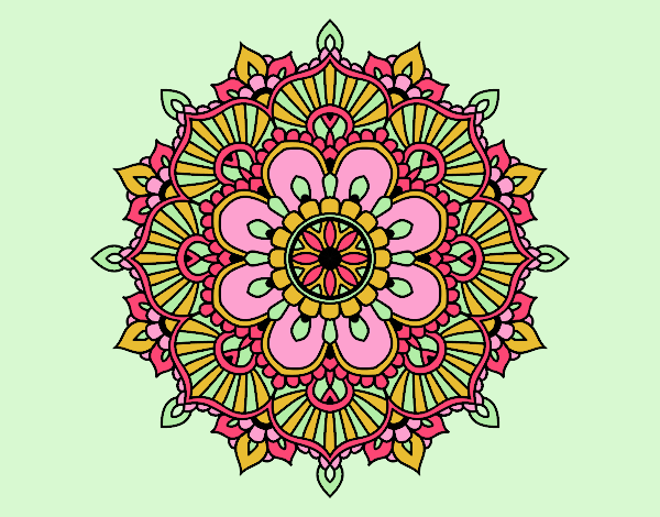Coloring page Mandala floral flash painted bylorna