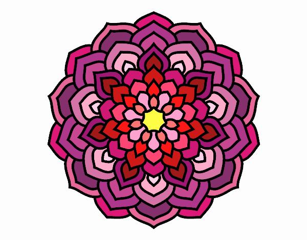 Coloring page Mandala flower petals painted bySkye