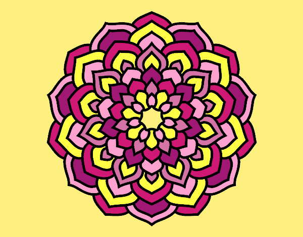 Coloring page Mandala flower petals painted bylorna