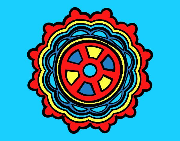 Coloring page Mandala shaped rudder painted byANIA2