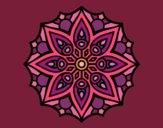 Coloring page Mandala simple symmetry  painted byValerie