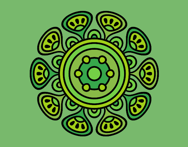 Coloring page Mandala vegetal growth painted bylorna