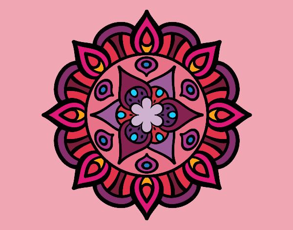 Coloring page Mandala vegetal life painted bySage