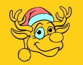 Coloring page Reindeer face Rudolph painted byNIKOS