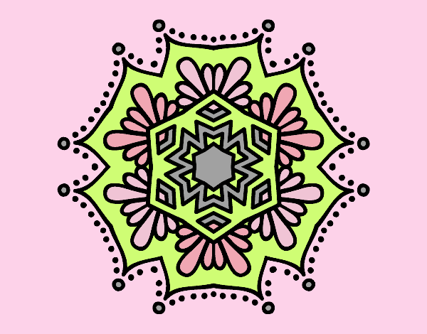 Coloring page Symmetrical flower mandala painted bylorna