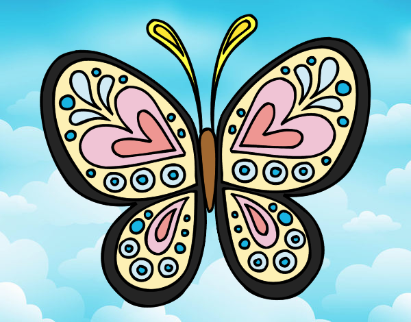 Coloring page Butterfly mandala painted byANIA2