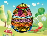 Easter egg with vegetable pattern