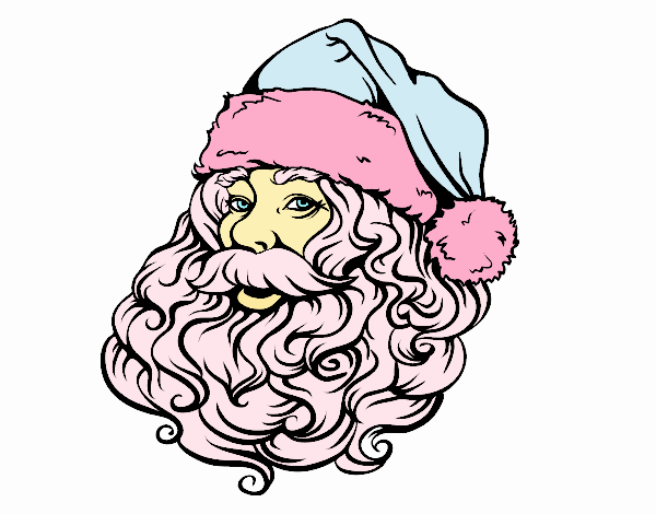 Colored Page Face Of Santa Claus For Christmas Painted By